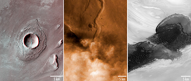 Left: CTX 3D anaglyph of a crater in Athabasca Valles. Center: CTX image of a dust storm in Buvinda Valles, colorized using a simultaneously-acquired MARCI image. Right: Dunes crossing a portion of the martian north polar cap.
