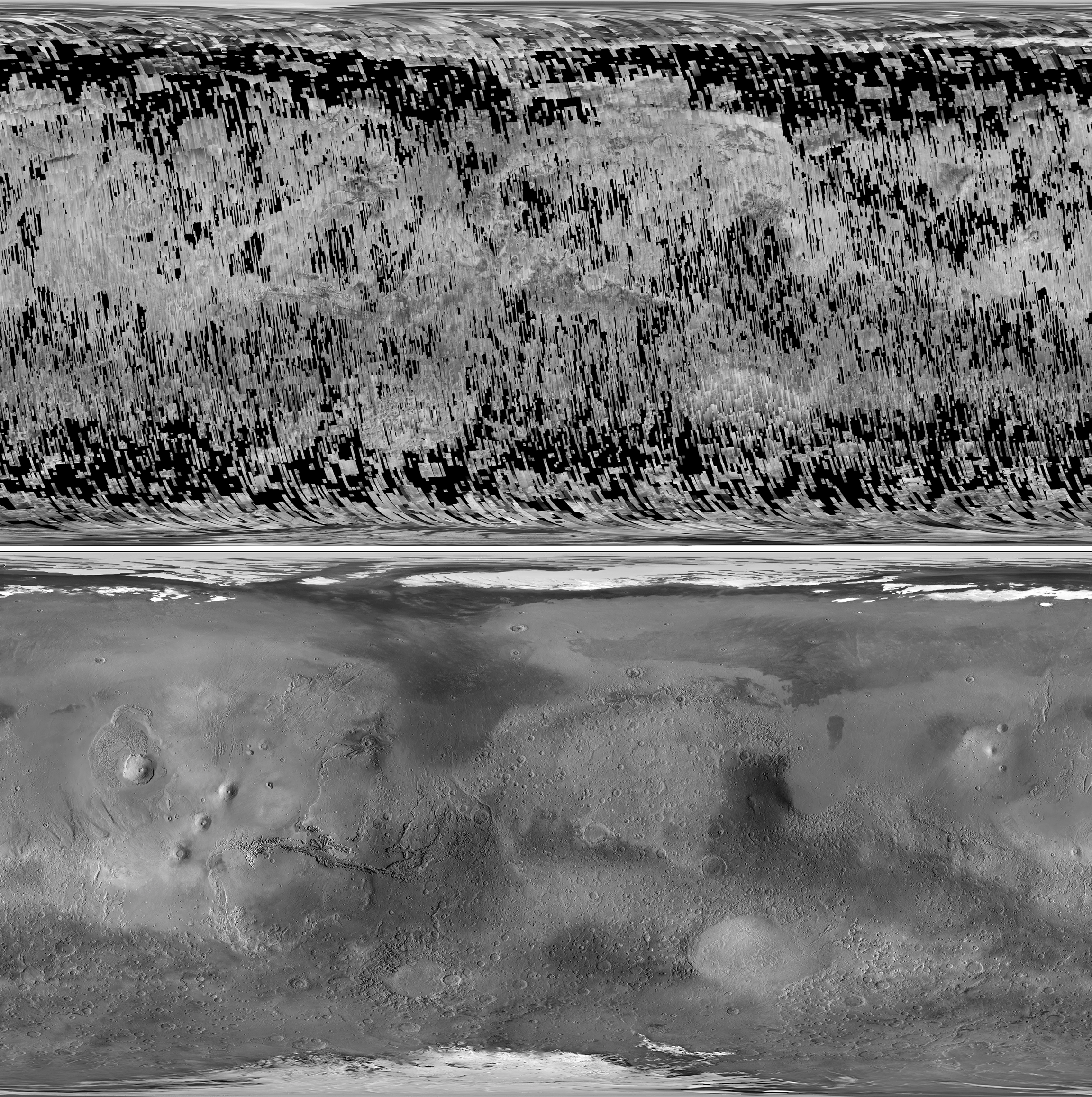 Top: Reduced resolution map of global CTX coverage as of 31 March 2012. Bottom: MGS MOC WA global mosaic overlaid upon MGS Mars Orbiter Laser Altimeter (MOLA) topography. Projection is simple cylindrical with a central longitude of 0° in both images. Image credit: NASA/JPL-Caltech/Malin Space Science Systems.