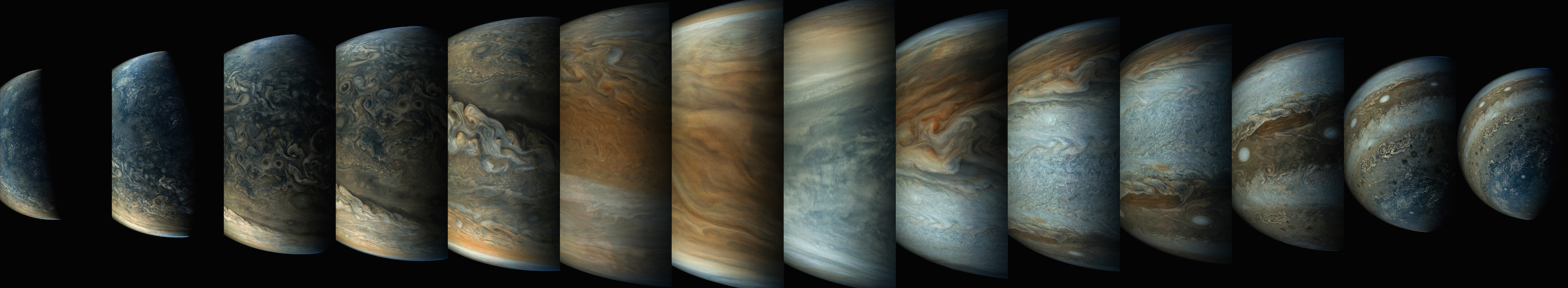 Sequence of 14 enhanced-color JunoCam images.